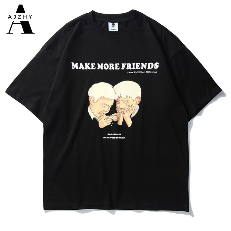 Summer Casual Streetwear T Shirt Harajuku Funny Anime Print Tshirts Men Hip Hop Cotton Couple T-shirt Man and Women Top Clothing