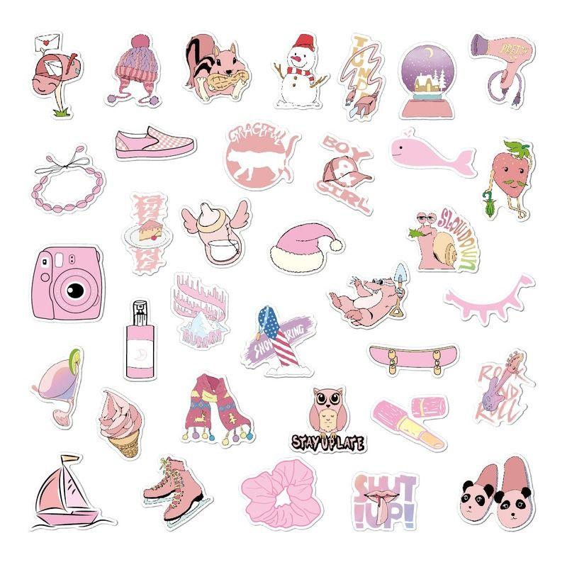 2Установите = 70pcs Съемный розовый небольшой свежий стикер Персонализированная Doodle Чемодан водонепроницаемый наклейки