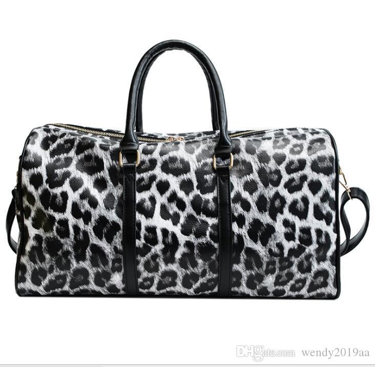 مصمم حقائب اليد حقيبة المرأة PU ليوبارد الطباعة 44CM شفافة الأمتعة واق من المطر حقيبة