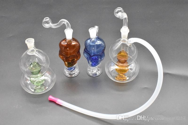 2style colorido mini-grossa Crânio cabaça plataforma de petróleo de vidro Bongs da tubulação de água Percolator fumar narguilé tubulações de tabaco em forma bongs Oil Rigs