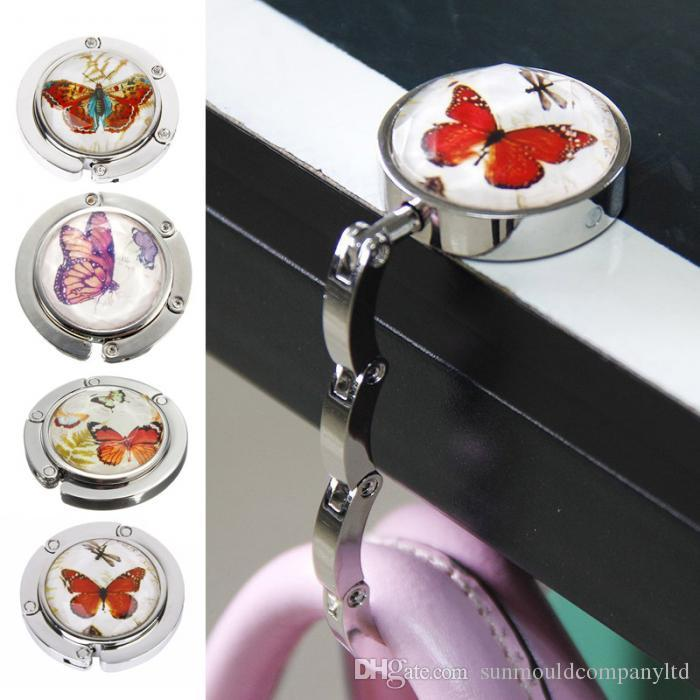 Mini Foldable Folding Table Handbag Hook Purse Tote Flower Shape Metal Bag Table Hanger Holder Decoration for Home
