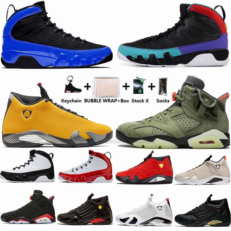 2020 14s SE Black Thunder Candy Cane 14 мужская баскетбольная обувь 9 Dream It Do It Breed UNC 9s спортивные кроссовки 6s Трэвис Скоттс с Бокс тренером