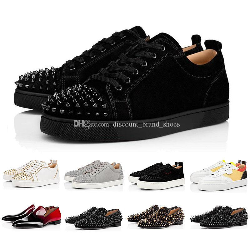 2020 suede leather platform Red Bottoms Studded Spikes Flats Casual Shoes High Quality Men Women Fashion low Cut Party Lovers Shoes