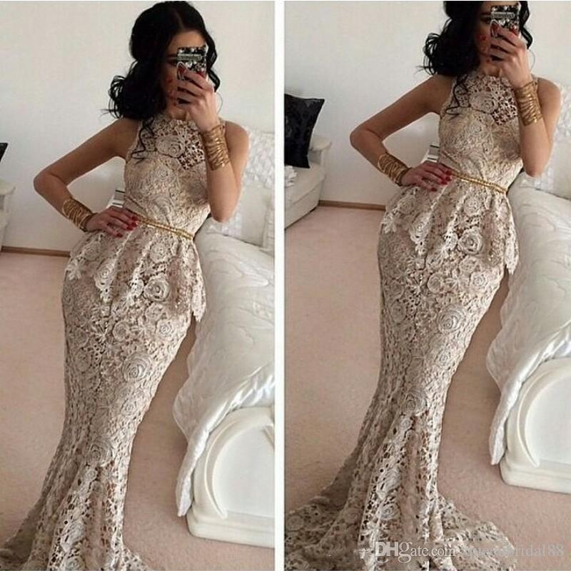2019 Full Lace Mermaid Evening Dresses with Peplum Sash Mother of the Bride Dress Jewel Neck Prom Formal Party Gowns