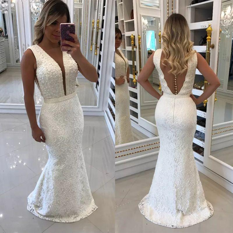 Vestidos de novia de la sirena del cordón blanco de la manera completa Sheer Volver puntillas y perlas Jardín ropa de la boda del tren del barrido País Robe de mariée