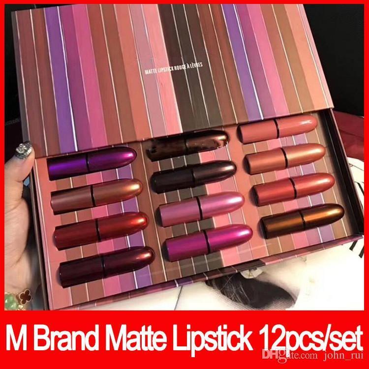 2018 Labios Maquillaje Marca M Lápiz Labial Mire en una caja Lápiz Labial Mate colorete a caja con caja 12pcs / set