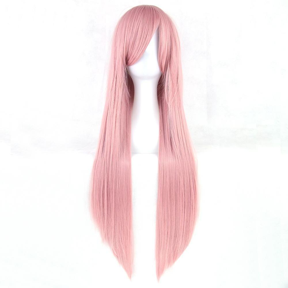 Soowee 24 colori lunghi capelli lisci da donna biondi rosa ad alta temperatura resistente al calore capelli sintetici parrucca parrucca cosplay