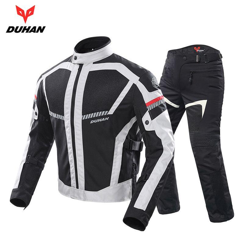 DUHAN Motocicleta Jaqueta Calças terno Moto Jaqueta de Verão Dos Homens Motobike Protective Gear Malha Respirável Roupas Reflexivas, D-213
