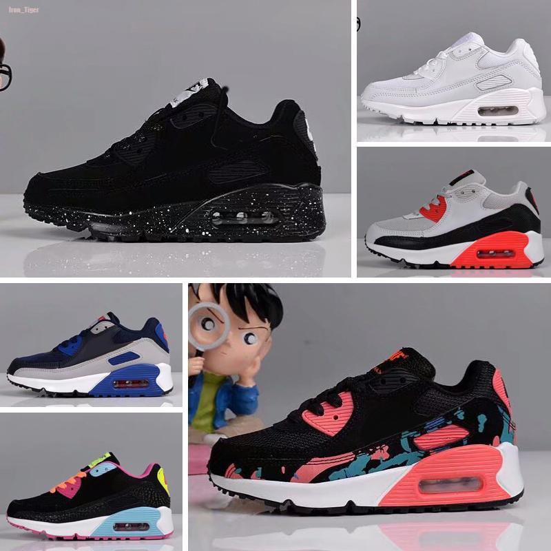 Nike air max 90 Los zapatos atléticos de los nuevos niños Presto niños zapatos Correr infantil Negro blanco Bebé zapatilla de deporte de los niños calzado deportivo de los muchacho