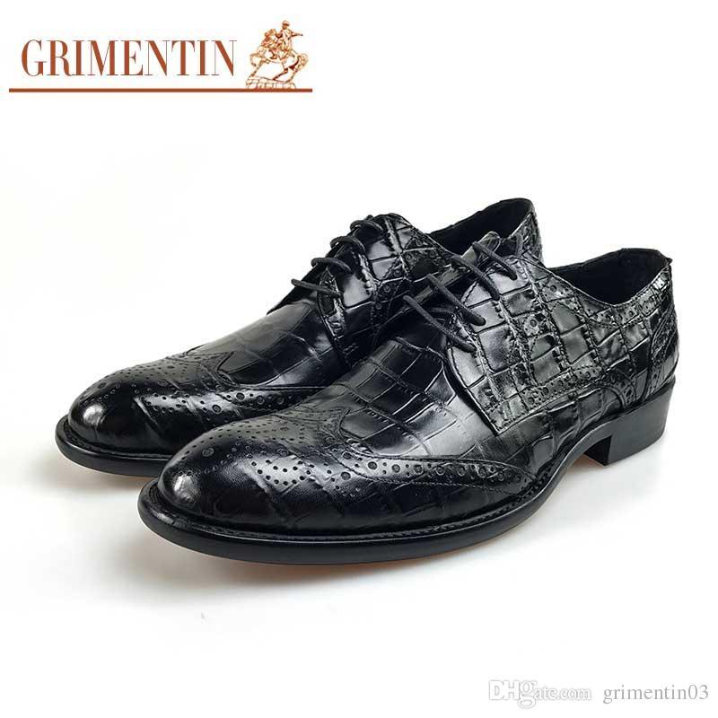 GRIMENTIN Marca de venta caliente para hombre zapatos de moda italiana negro marrón hombre oxford zapatos de cuero genuino de grano de cocodrilo negocio boda zapatos masculinos