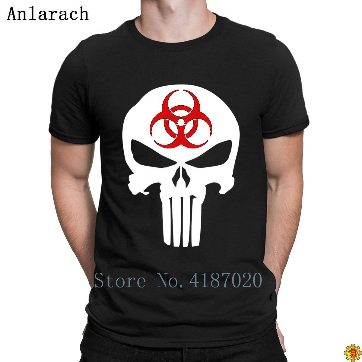 Biohazard Punisher camisetas humor de la aptitud de la novedad de diseño de la camiseta para los hombres S-3XL La luz del sol Hip Hop Anlarach Peculiar