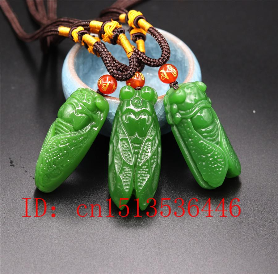 Chinese Exquisite green black jade Hand-Carved pendant cicada