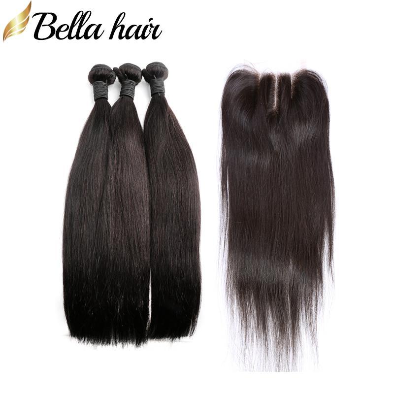 Straight Peruvian Virgin Hair Bundles with Closure 3 Part 4x4 Lace Closure Unprocessed Human Hair Weft Extensions Bellahair