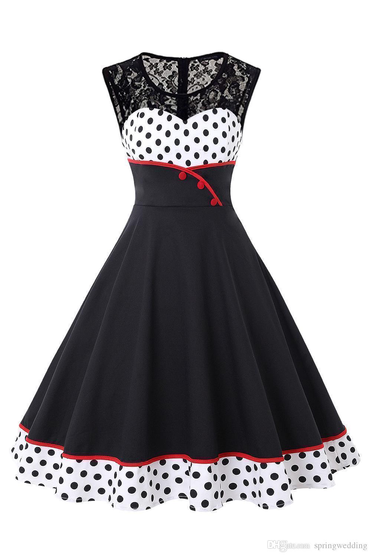 Großhandel Neue Ankunft 17 Günstige Rockabilly Retro Patchwork Polka Dot  Vintage Kleid Polka Dots Button Hepburn 17er Jahre 17er Jahre Party Kleider