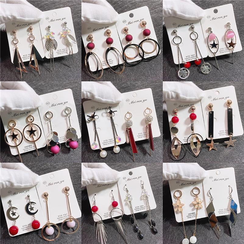 mescolare gli stili lunghi orecchini nappa, belle perle di cristallo fascino opale personalizzato orecchini all'ingrosso
