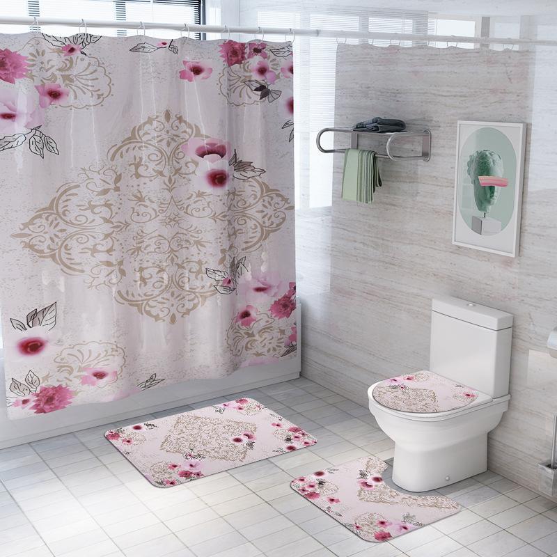 Flower Design Bathroom Waterproof Fabric Shower Curtain /& Hooks Set Bathmat NEW