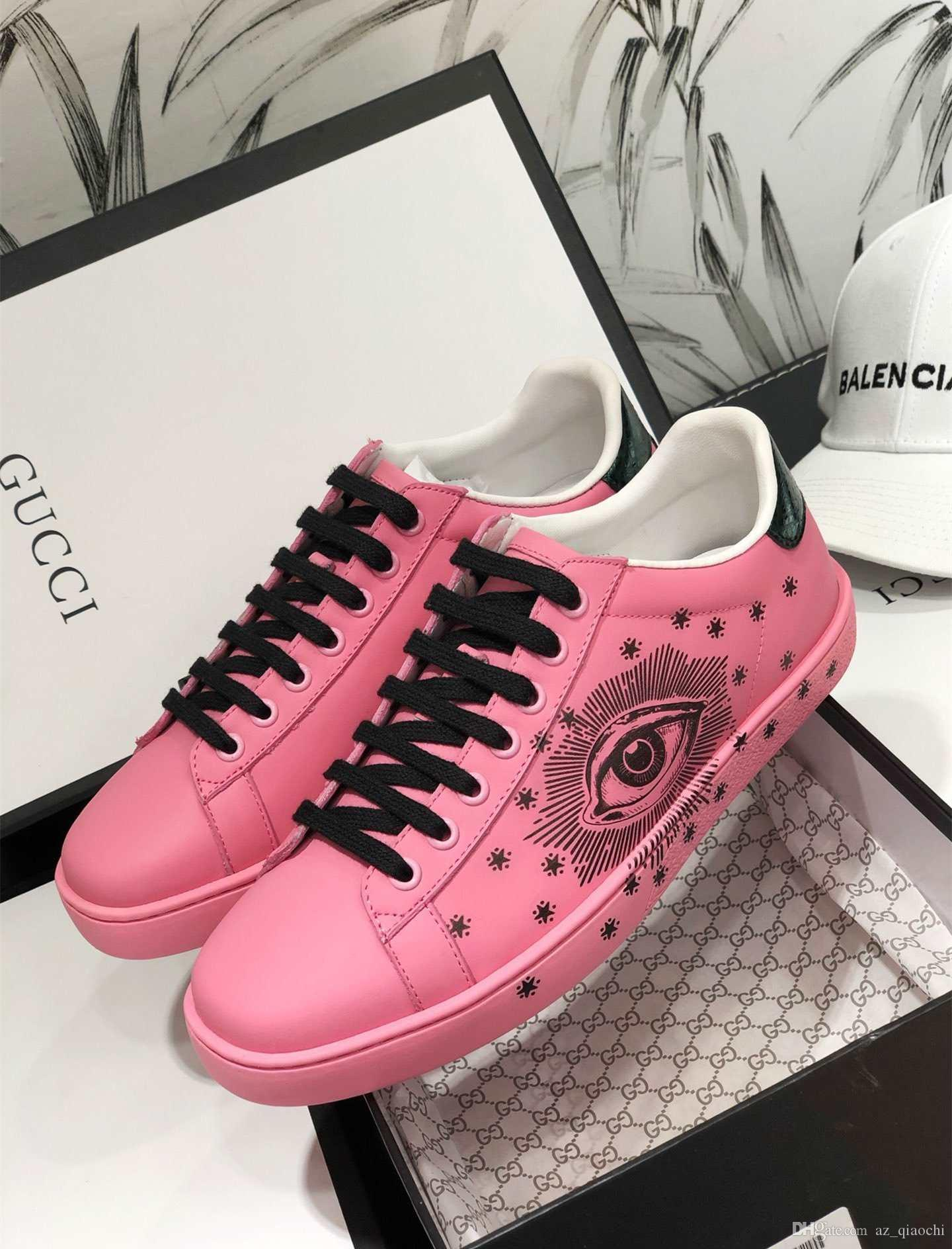 2020 New Hot venda da sapatilha rosa para casal Moda de luxo confortáveis sapatos casuais planas genuíno couro de alta qualidade Unisex rendas até size35-45
