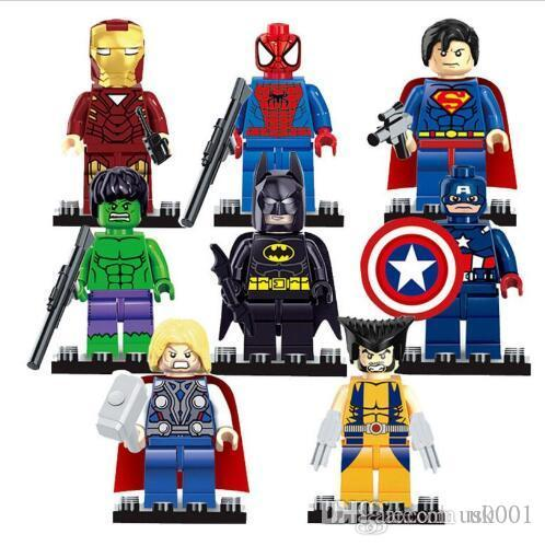 US Avengers 8pcs/lot Marvel DC Super Heroes Series Mini figures building blocks figures DIY Children Bricks Toys Gift