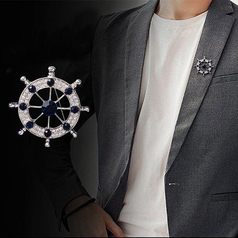 Diamond Man Rudder Brooch Lead Needle Jewelry England Navy Wind Man's Suit Accessories Pin