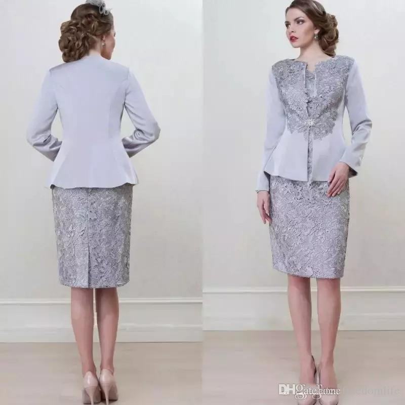 Vintage Knee Length Two Pieces Mother Of The Bride Dresses Jewel Neck Appliques Mothers Dress With Long Sleeve Jacket Wedding Guest Gowns Long Sleeve Mother Of The Bride Dresses Mother Bride From,Fall Wedding Guest Dresses