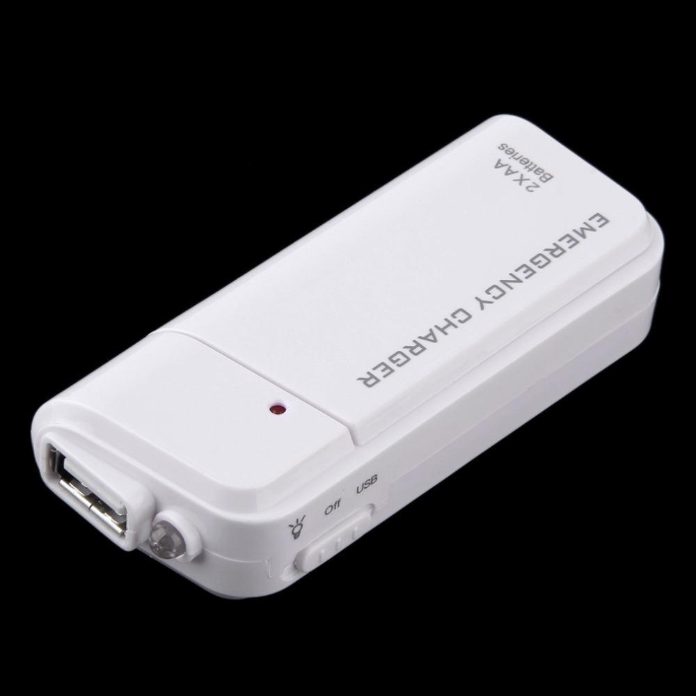 العالمي المحمولة USB في حالات الطوارئ 2 AA بطارية موسع البنك شاحن الطاقة الهاتف تزويد صندوق للحصول على المحمول MP3 MP4 الأبيض