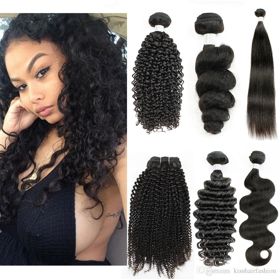 Kisshair 1 Bündel Brasilianisches Jungfrau Menschliches Haar Gerade Körper Lose Tiefwelle Jerry Courly Afro Verworrene curly natürliche Farbe