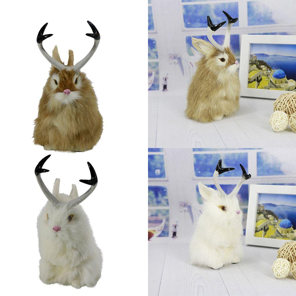 2pcs Реалистичной Jackalope Кролик Пасха Весна Банни животные Статуэтка