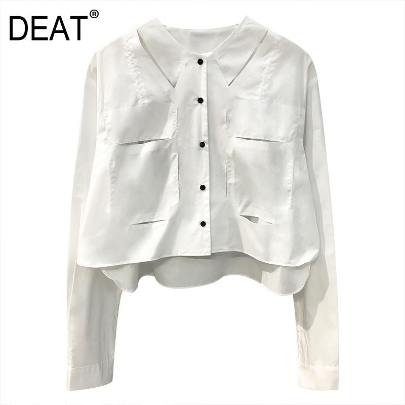 DEAT 2020 new spring and summer fashion women clothing round neck full sleeves single breasted short shirt WL09800L