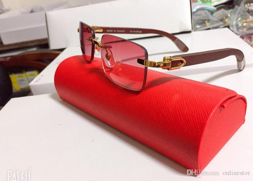 New Fashion Mens Wood Sunglasses Metal Gold Frame Clear Lens Glasses Eyeglasses Polarized Rimless Buffalo Horn Sun glasses With Box Case