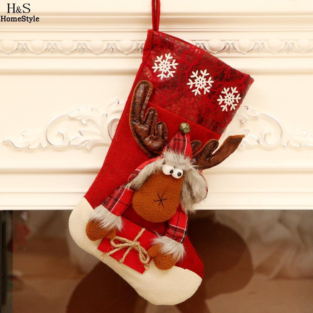 e pupazzo di neve di Natale Natale Gift Bag decorazione di Natale Babbo sospensione del pupazzo di neve alci del fumetto del Babbo Natale Moda Elk Sock