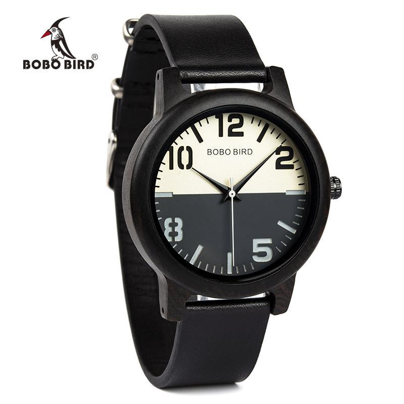 Comercio al por mayor de madera de ébano Reloj de los hombres Relojes Correa de cuero Relojes de cuarzo relogio masculino Hombres Regalos Aceptar Logo Envío de la gota