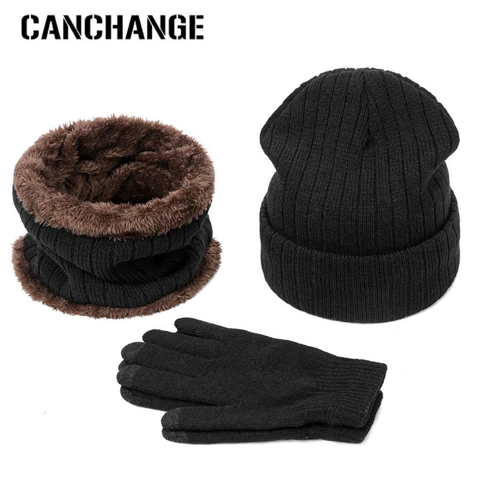 Nuovo arrivo caldo di inverno sciarpa cappello guanti Set Berretti cappelli lavorati a maglia addensare Uomini Donne Cap Salopette Guanti Indumenti unisex 3Pcs
