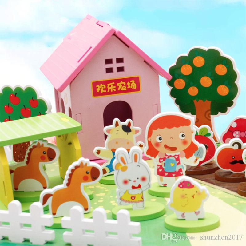 ألعاب خشبية الطفولة ألعاب تعليمية كتل البناء مزرعة التفكيك 3D لغز الطفولة المبكرة للأطفال