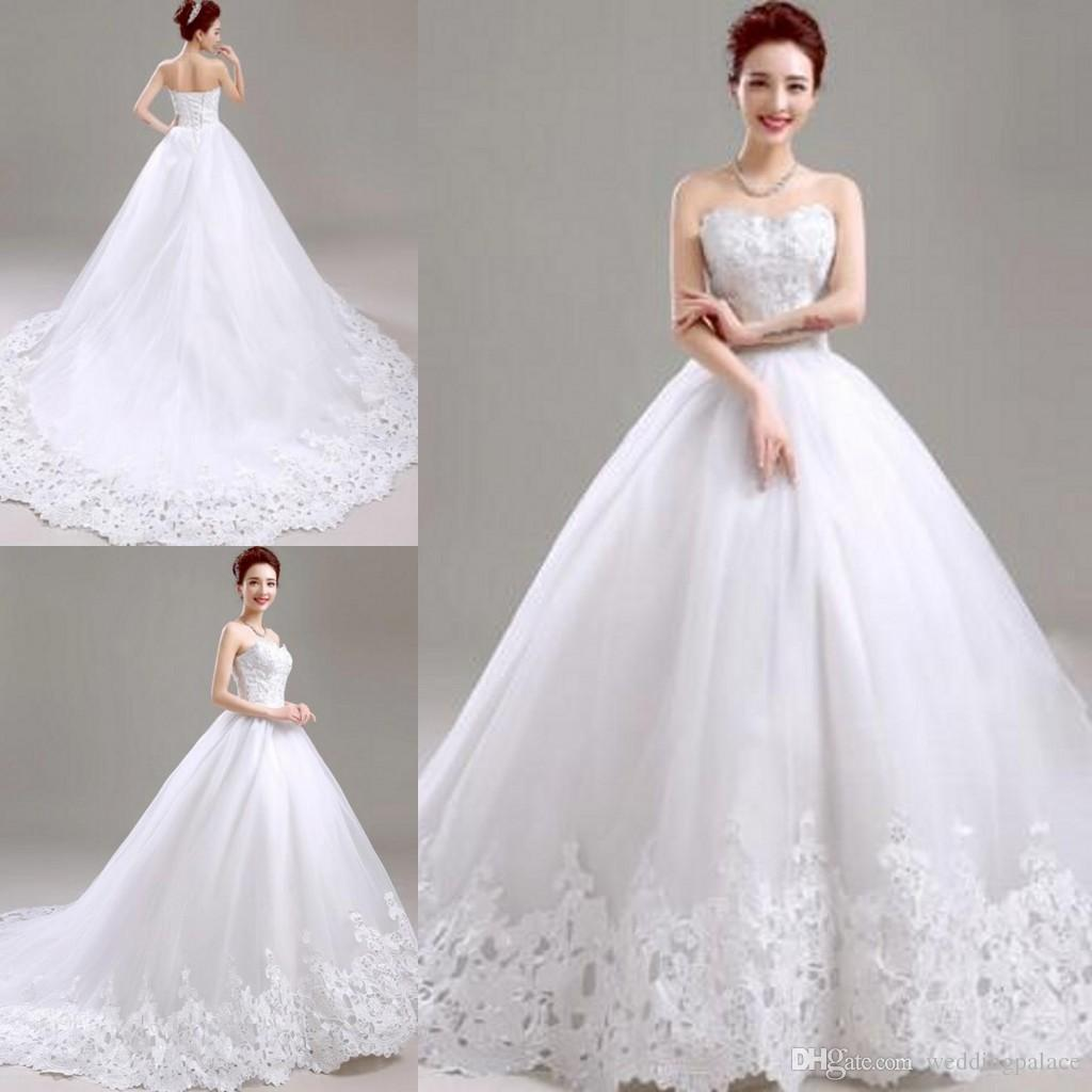Asian Style Simple Wedding Dresses with Court Train Corset Back Sweetheart Strapless Long Skirt Bridal Gowns Custom Made