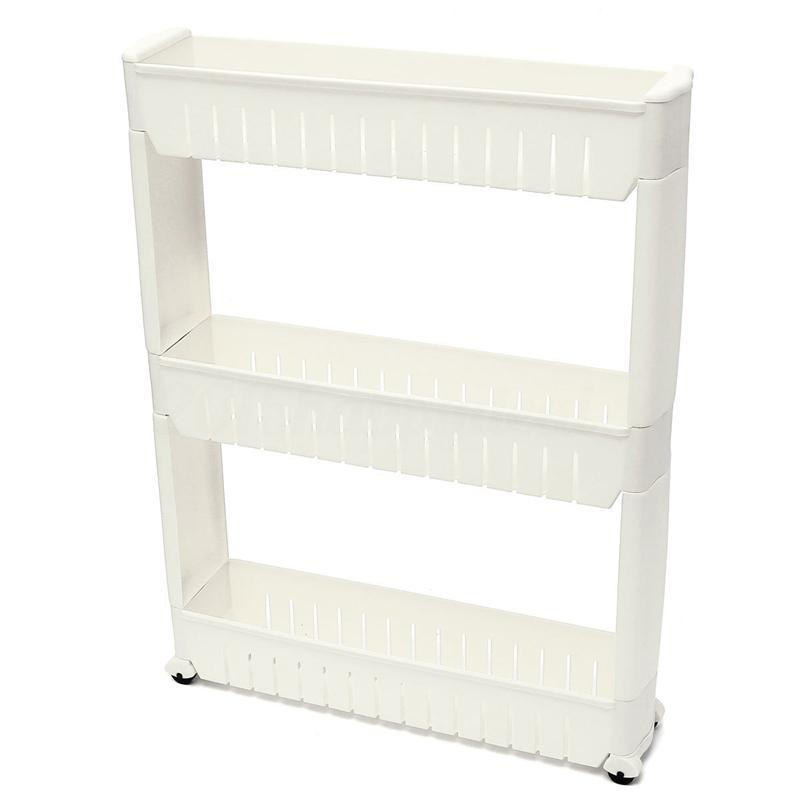 Magro deslizar para fora Cozinha Trolley rack Titular armazenamento prateleira Torre Folding 3 Tiro, Branco
