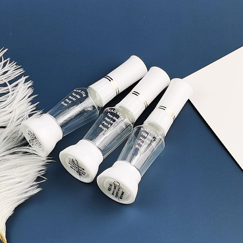 100шт / много пустой контейнер бутылки 2-Way Ложные Nail Art Блеск макияж Польский красочный Striper Pen + лак кисть