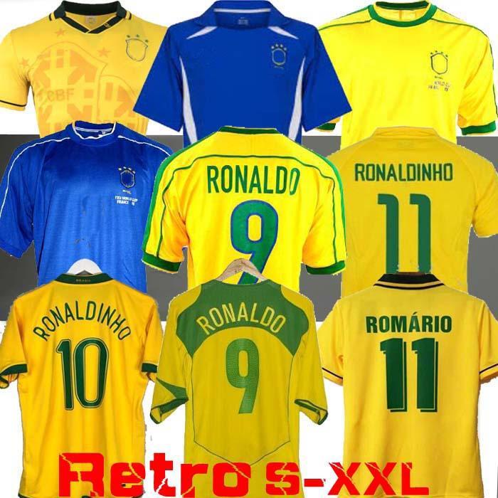 1998 بالقميص المنزل لكرة القدم 2002 قمصان الرجعية ZICO كارلوس روماريو رونالدو رونالدينيو 2004 camisa دي futebol 1994 بيبيتو 2006 البرازيل كاكا 1982