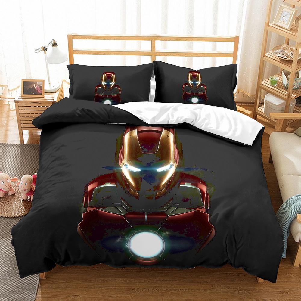Preto / ouro edredon cobrir Set 3 PCS Avengers Alliance Jogo do fundamento com 2 fronha Homem de Ferro Boys Home Lençois Set US Tamanho