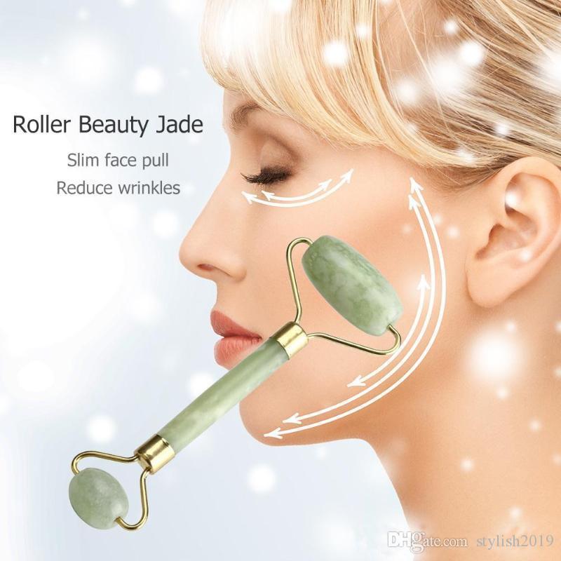 Santé Naturelle Beauté du visage Outils de massage Jade rouleau visage mince visage Massager Perdre du poids Beauté rouleau outil ST248