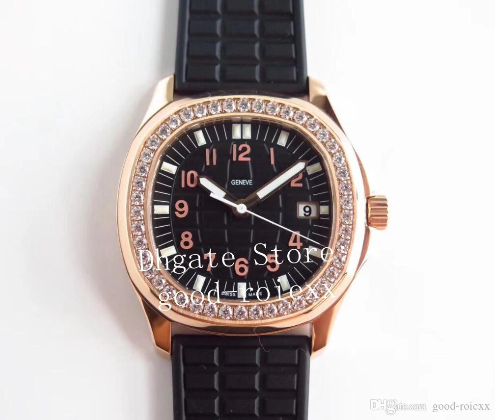 Quarzo Cal.E di lusso in oro rosa diamante orologi da donna 23-250 PPF fabbrica di orologi signore Aquanaut 5067 Data di gomma Bianco Blu Grigio da polso