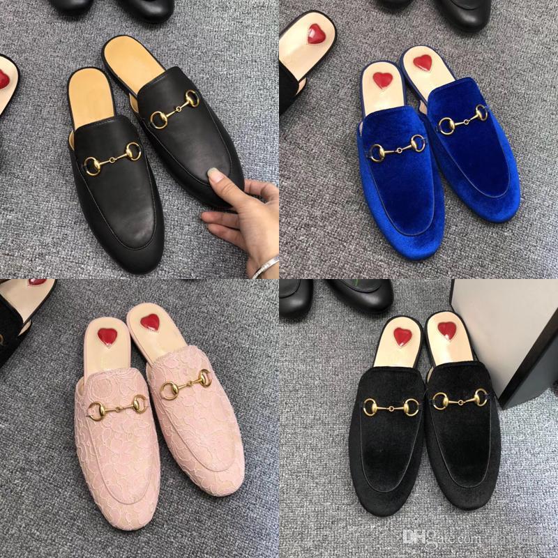2019 nuevos hombres de cuero zapatillas de lujo mulas Princetown diseñador clásico resbaladiza hebilla de metal zapatillas de playa de piel de vaca suave de las mujeres zapatos perezosos