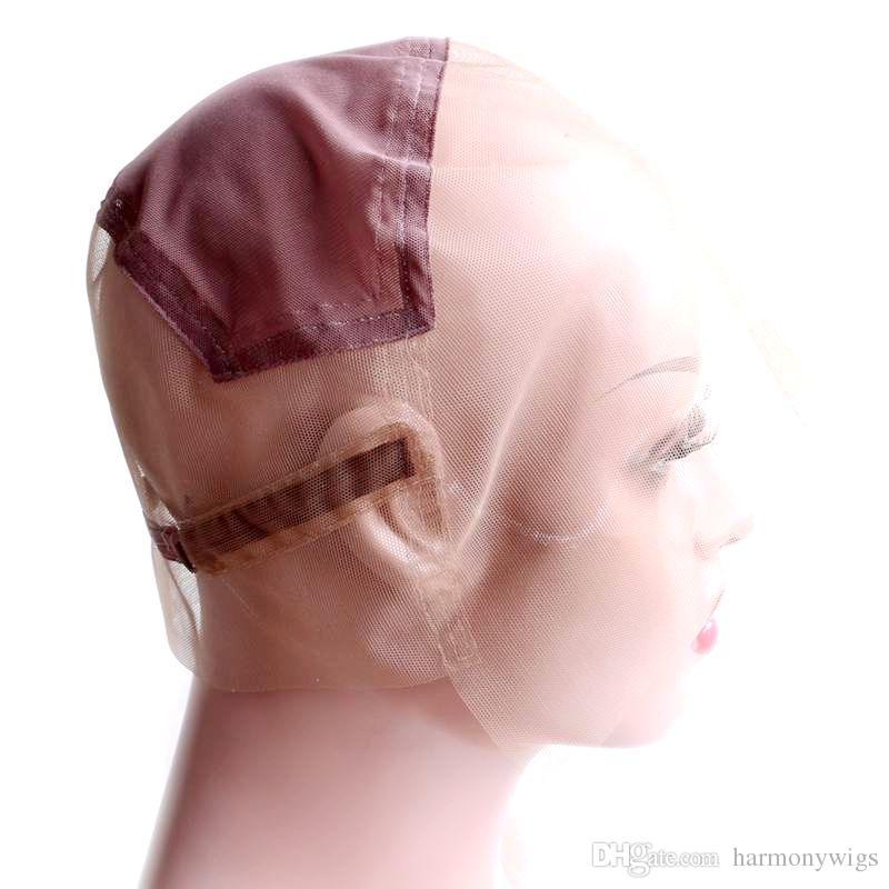 Stock Capas de peluca de encaje llenas para hacer pelucas ajustables de peluca de encaje completo Gorra de tejido sin gluros Personalizar peluqueros