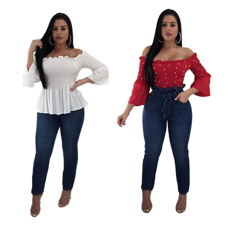 2019 New Popular Sexy Elegant Women Chiffon T shirt Solid Beading Slash Neck Full Puff Sleeve Tees