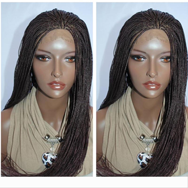 stock Burgundy Black Twist Brown Ombre Dark Roots Hand Tied Heat Resistant Fiber Hair Wigs Synthetic Braided Lace Front Wig