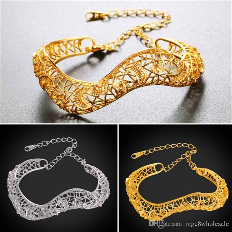 U7 Armbänder Gold / Platin überzogener Weinlese-Höhle-Armband-Geschenk für Frauen-Qualitäts-Mode-Charme-Schmucksache-Stulpe-Armband