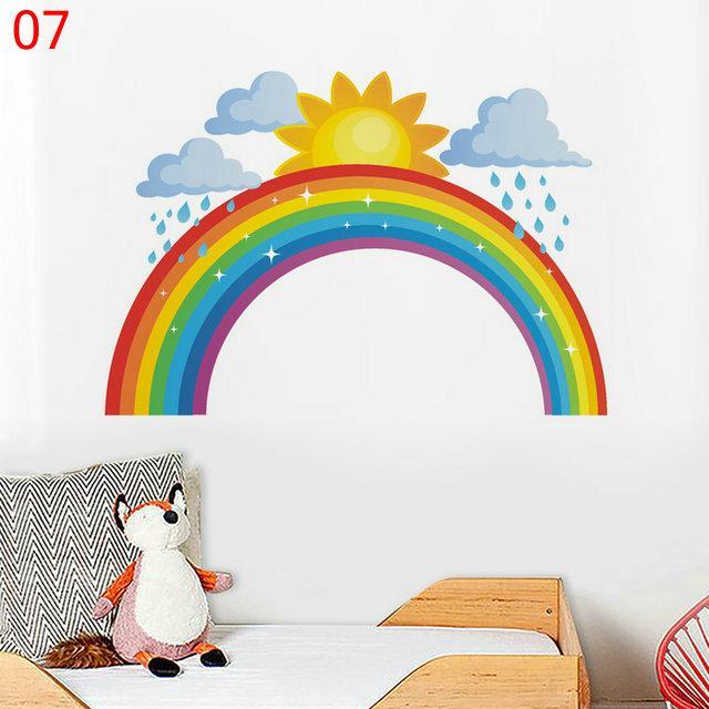 التجزئة 7 أنماط الاطفال rainbow الشمس clound يونيكورن ملصقات الحائط ديكور المنزل الفن الجدار ملصق الأطفال للماء صائق خلفيات ديكورات
