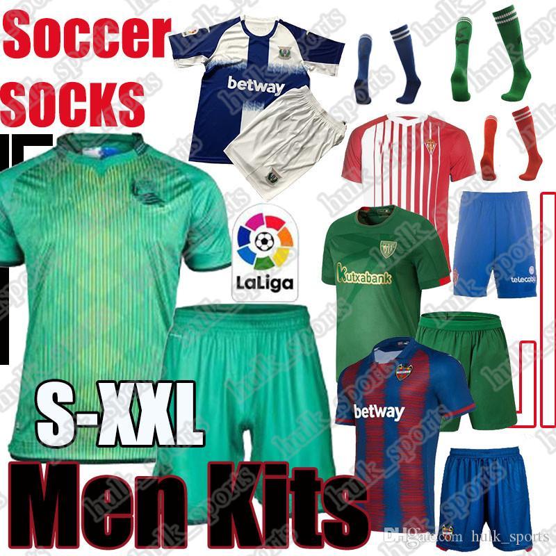Real camisa de futebol Sociedad ISAK OYARZABAL Adulto Kit Levante UD Roger MS. meias Campana Bilbao WILLIAMS leganes uniformes Sporting de Gijón