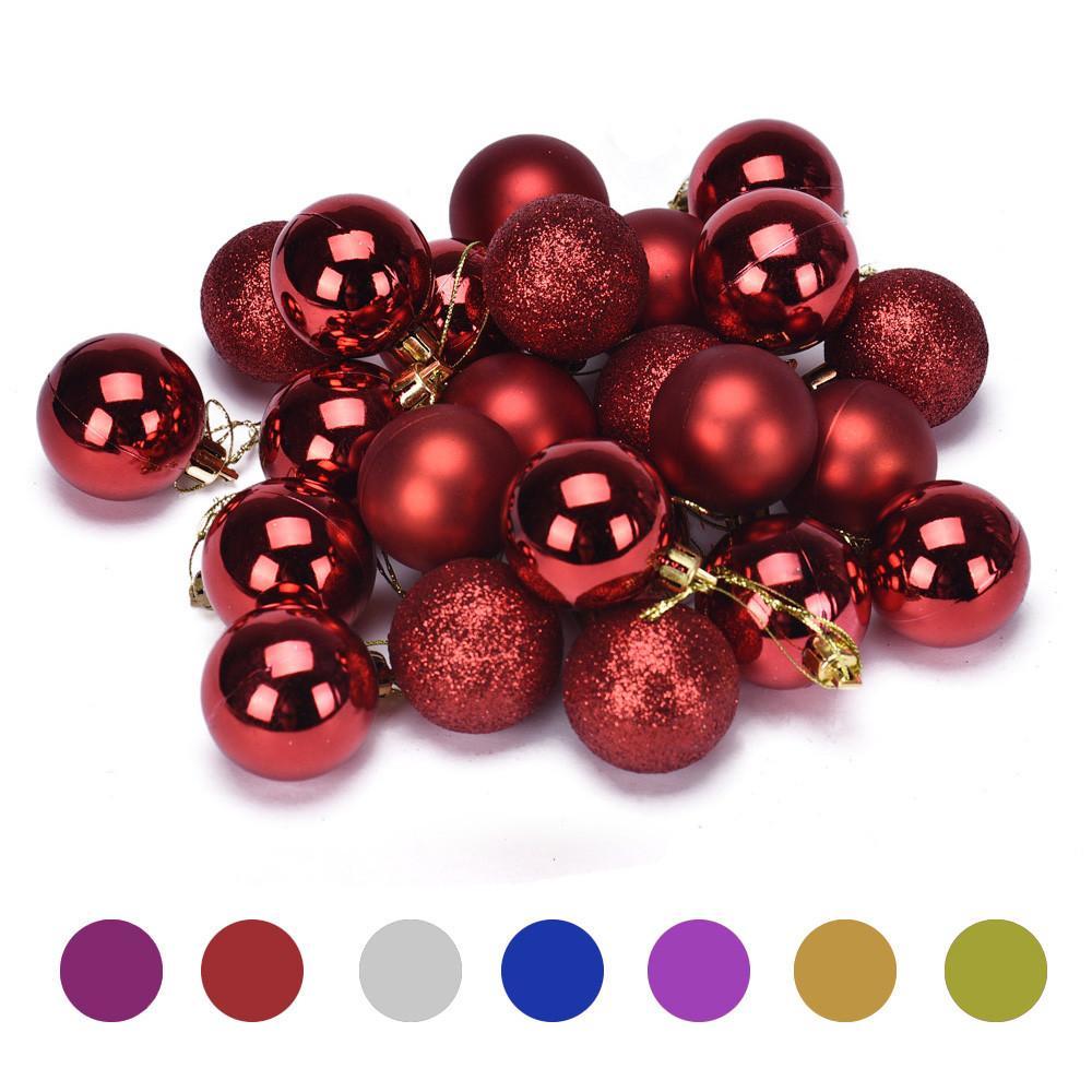 Navidad 4 cm 24PC plástico árbol de Navidad decoración de bolas L0819