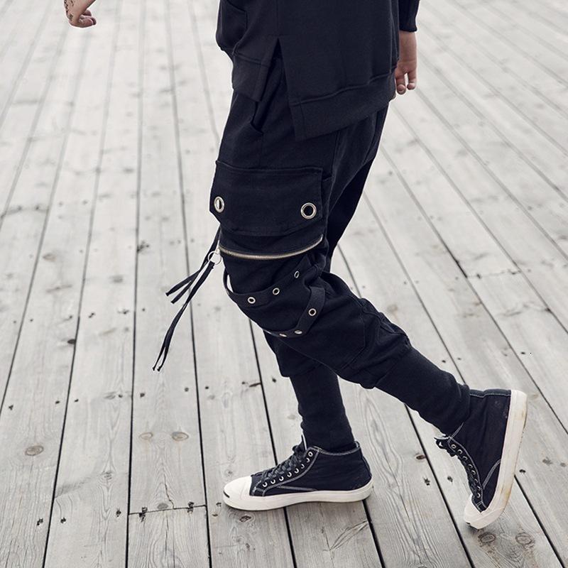 2020 Black Hip Hop Sweatpants мужская Тощий High Street Joggers карандаш брюки моды блестки Поддельные Молнии Slim Fit Брюки мужские