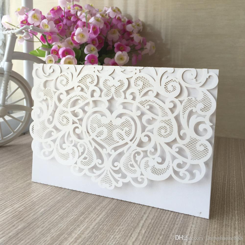 35pcs / lot Envelope Hollow Out Wedding Invitation Card Festivity Exquisite Birthday Party Design With Lace Invitations Blessing Cards